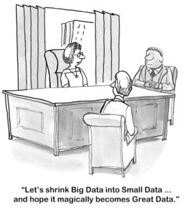 """""""Let's shrink Big Data into Small Data... and hope it magically becomes Great Data."""""""